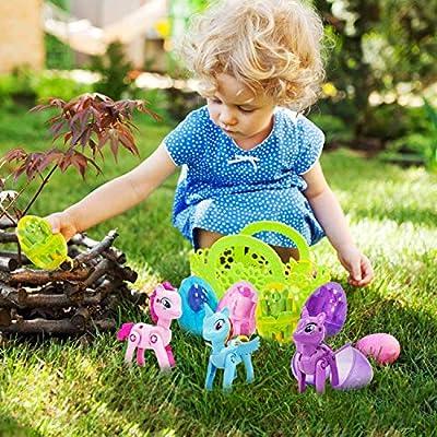 Joyork 12 Pcs Filled Easter Eggs + 12Pcs Unicorn Deformation Figures - Prefilled Plastic Easter Eggs with Toys - Surprise Eggs Easter Gifts for Kids Boys Girls - Egg Hunt - Easter Party Favors: Sports & Outdoors