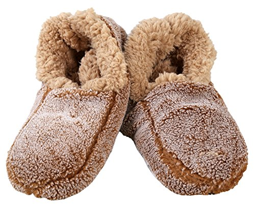 Snoozies Mens Two Tone Fleece Lined Non-Skid Slipper Socks, Camel S