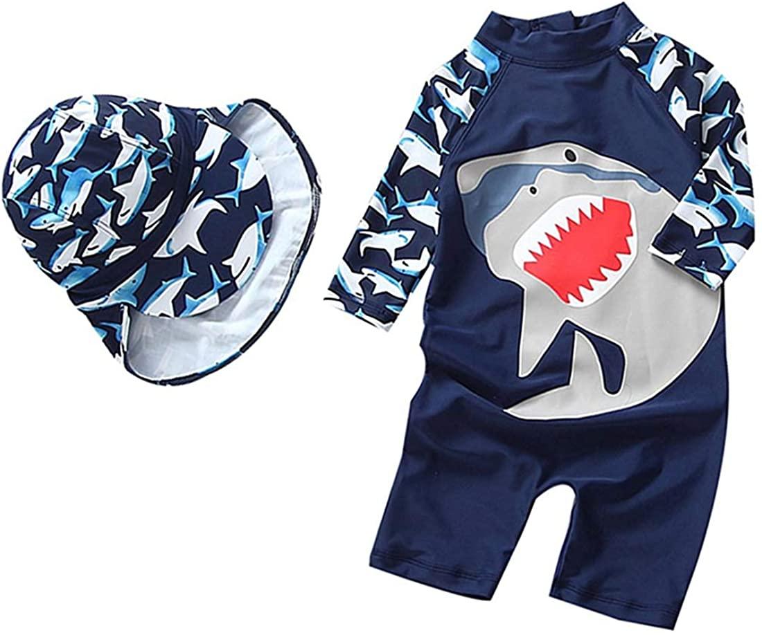 Baby Toddler Boys Girls One Piece Swimsuit Set Swimwear Shark Bathing Suit Rash Guards Sunsuit with Hat UPF 50+