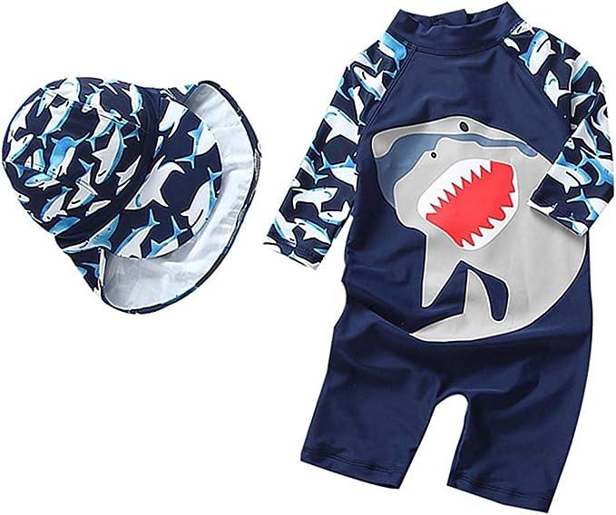 Kids Boys Cartoon Swimsuit One-Piece Swimming Hat Set Beach Swimming UV Sunsuit