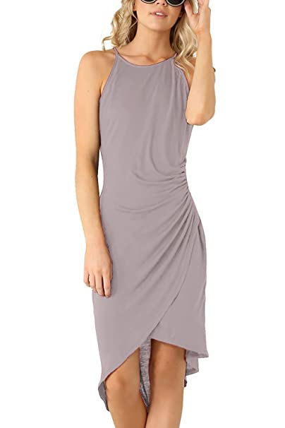 8c3e0b6eb078 Eliacher Women s Casual Spaghetti Strap Summer Dress Bodycon Midi Party  Sleeveless Dresses (XS