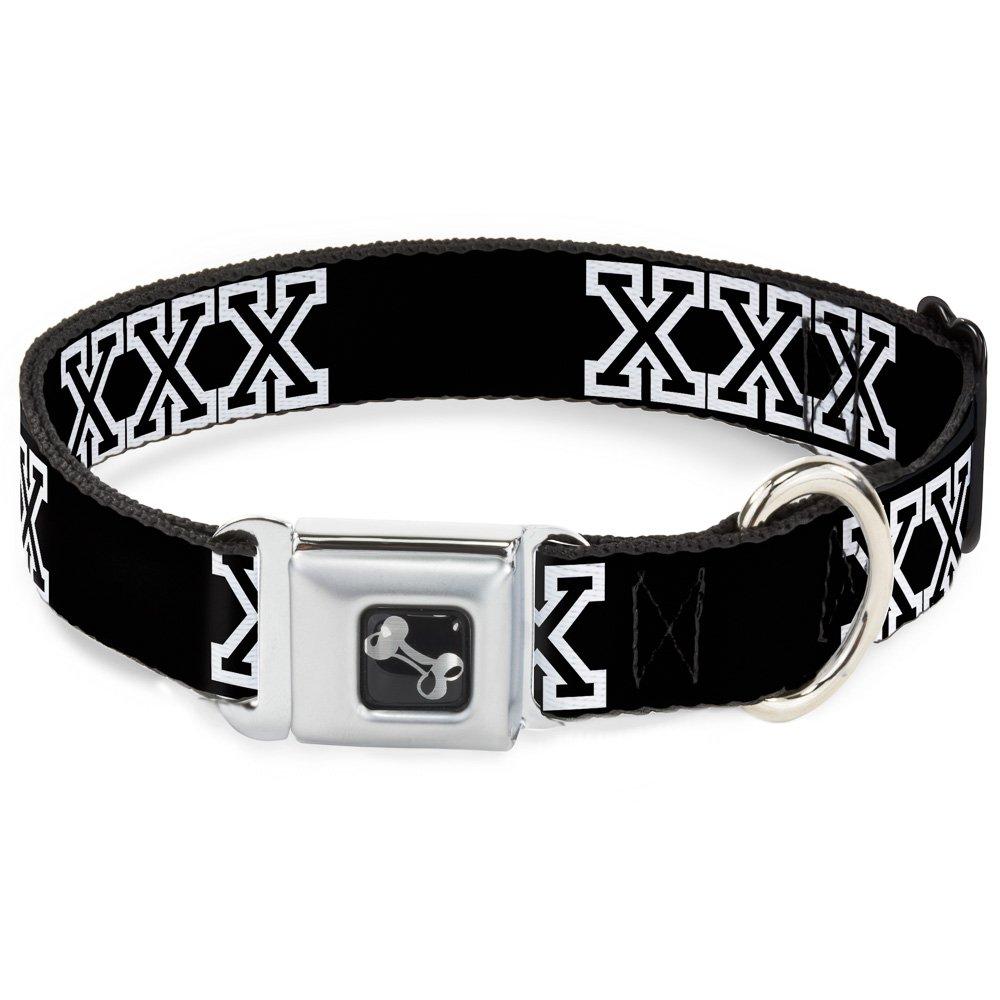 Buckle-Down Seatbelt Buckle Dog Collar XXX Black White 1.5  Wide Fits 16-23  Neck Medium