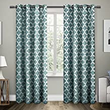 Exclusive Home Curtains Neptune Cotton Grommet Top Window Curtain Panel Pair, Teal, 54x84