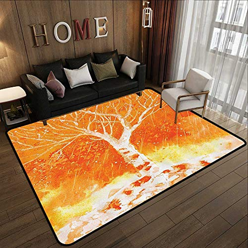 (Office Floor mats,Fall Tree Decor,Murky Original Hand Drawn Painting with Birches and Rain Drops Hazy Habitat,Orange 71