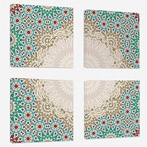 4pcs/set Modern Painting Canvas Prints Wall Art For Home Decoration Moroccan Print On Canvas Giclee Artwork For Wall DecorOttoman Mosaic Art Pattern with Oriental Floral Forms Antique Scroll Ceramic B