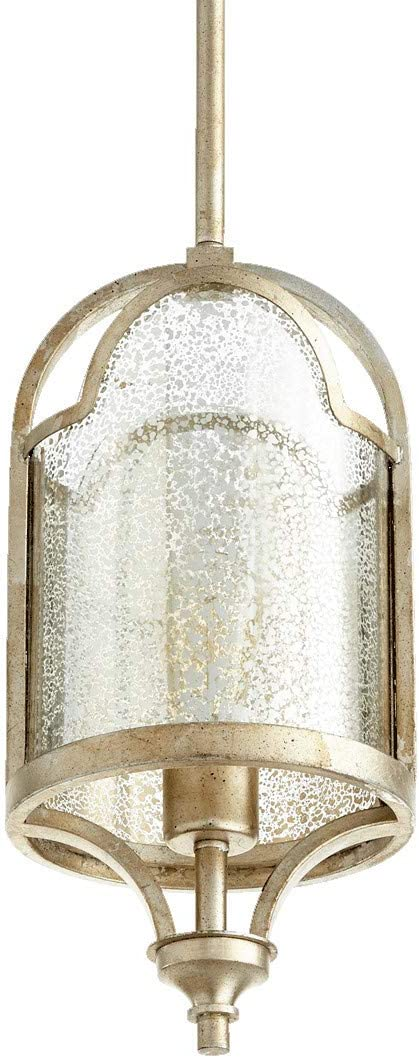 Quorum 3003-60 Champlain – One Light Pendant, Aged Silver Leaf Finish with Mercury Glass
