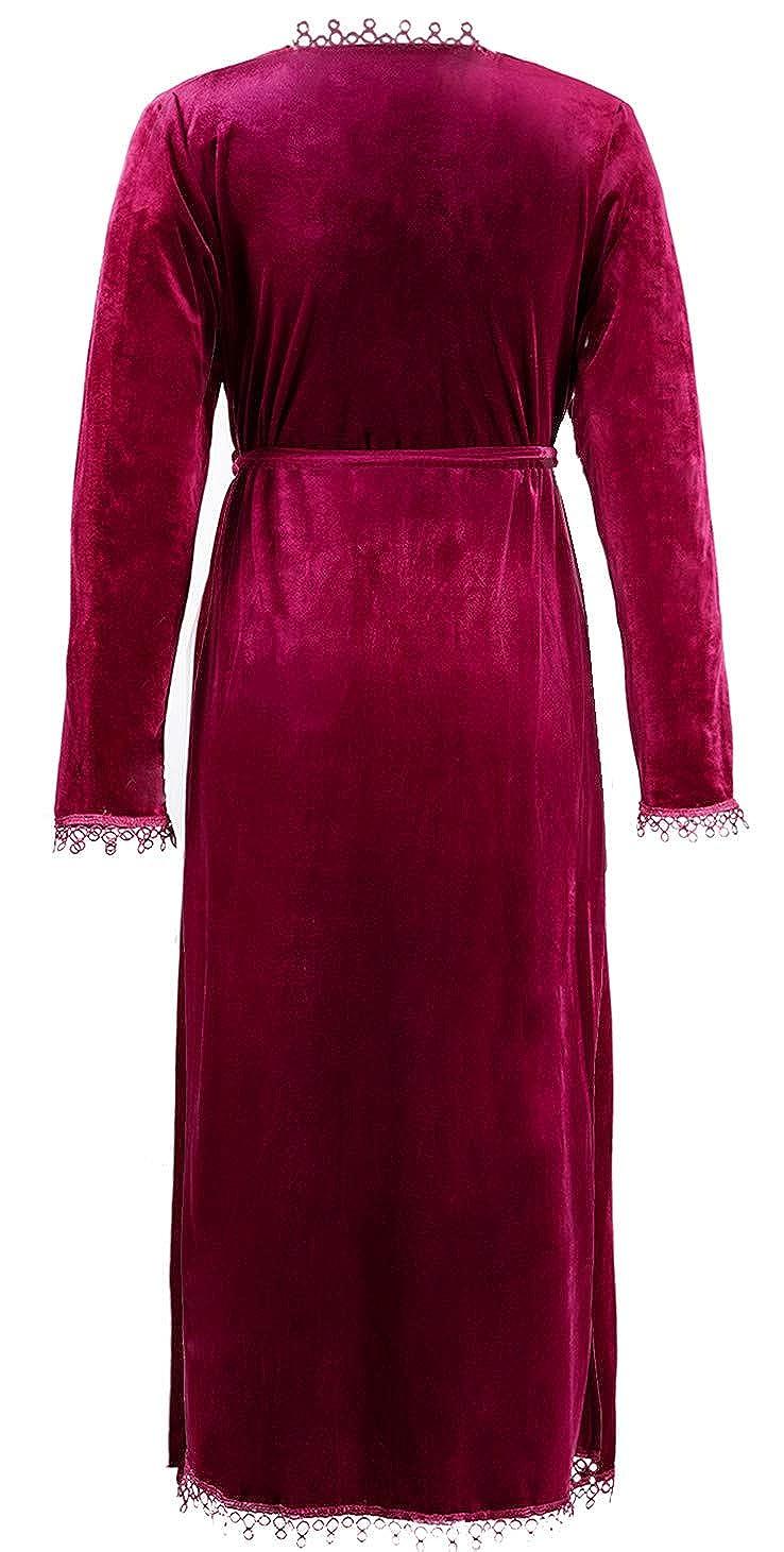 Amazon.com  BellisMira Women s Velvet Dressing Gown Winter Pajamas Warm  Bathrobe Wrap Kimono Elegant Flannal Robe Sleepwear  Clothing 0dabaffac