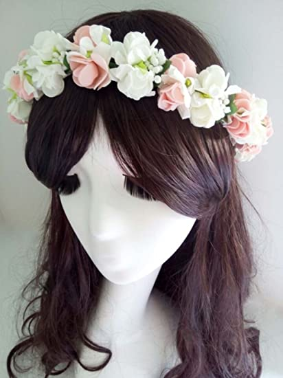 Amazon shabby chic hippy pe rose flower headband halo wedding shabby chic hippy pe rose flower headband halo wedding head crown hair accessories floral headpiece bridal mightylinksfo