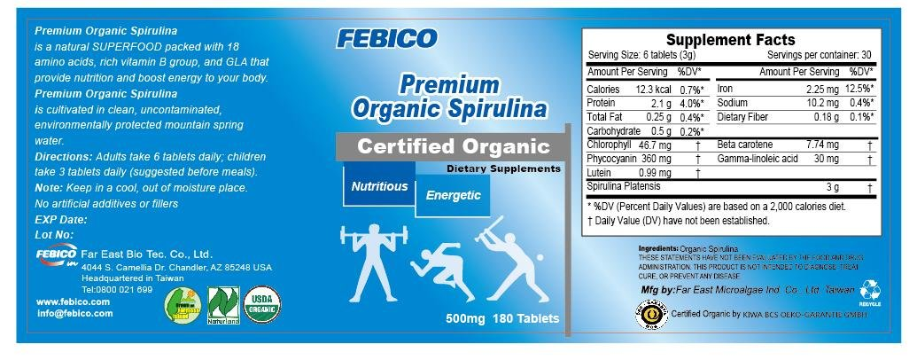 FEBICO Organic Spirulina Tablets 500mg. Set of 6. With Enriched Vitamin B12 Complex