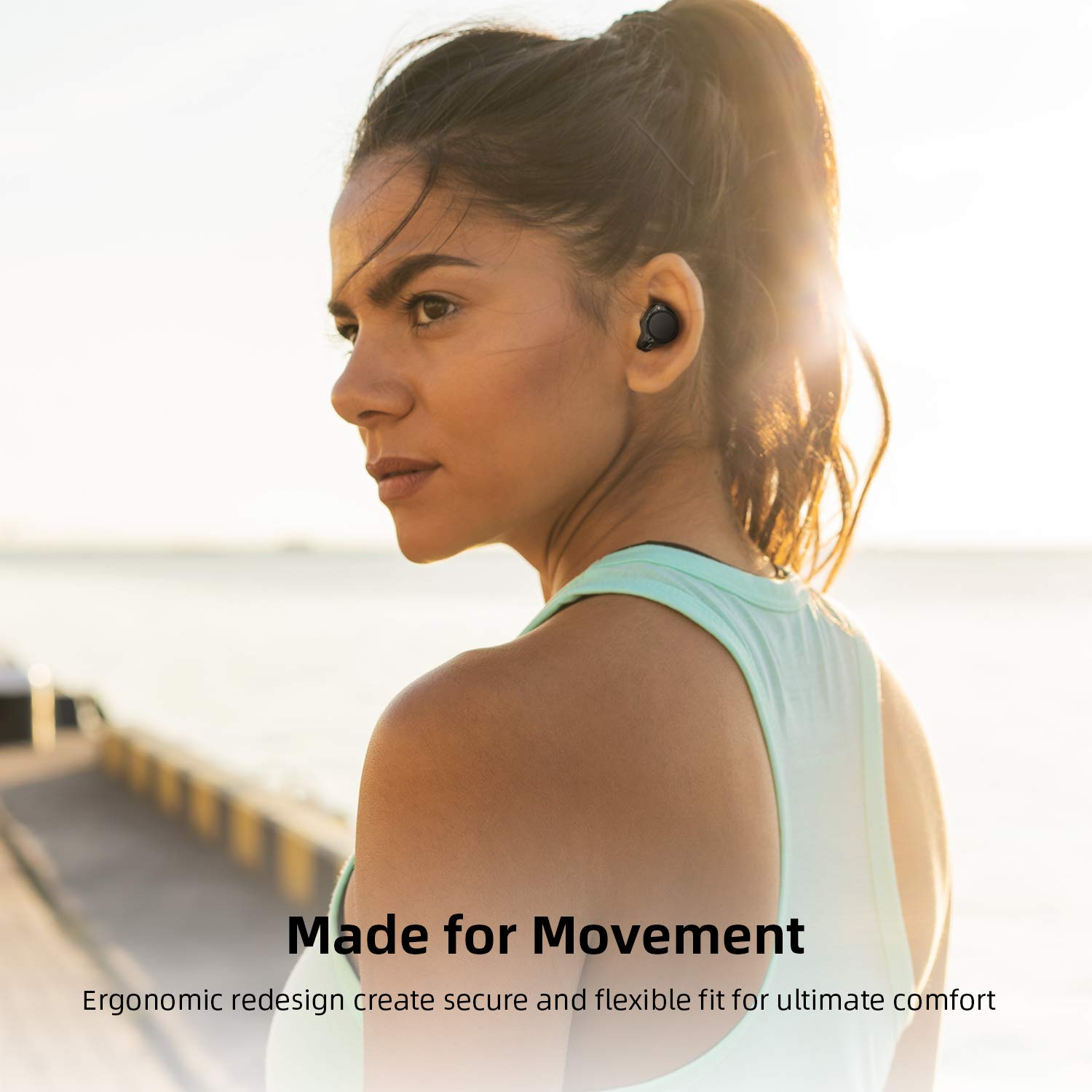 Bluetooth 5.0 Wireless Headphones, ENACFIRE Future Plus Wireless Bluetooth Earbuds with 104 Cycle Playing Time IPX5 Waterproof for Sport One-Key Control Hi-Fi Sound Quality Stable Connection by ENACFIRE (Image #7)