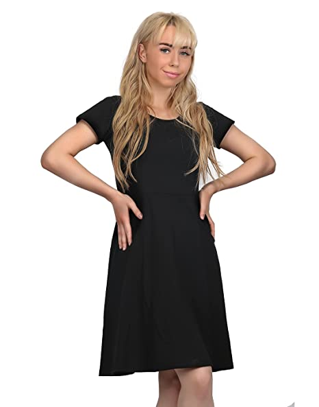 HDE Womens Short Sleeve Skater Dress Casual Flared A-Line Knee Length Tea  Dress at Amazon Women s Clothing store  be31ed6c5