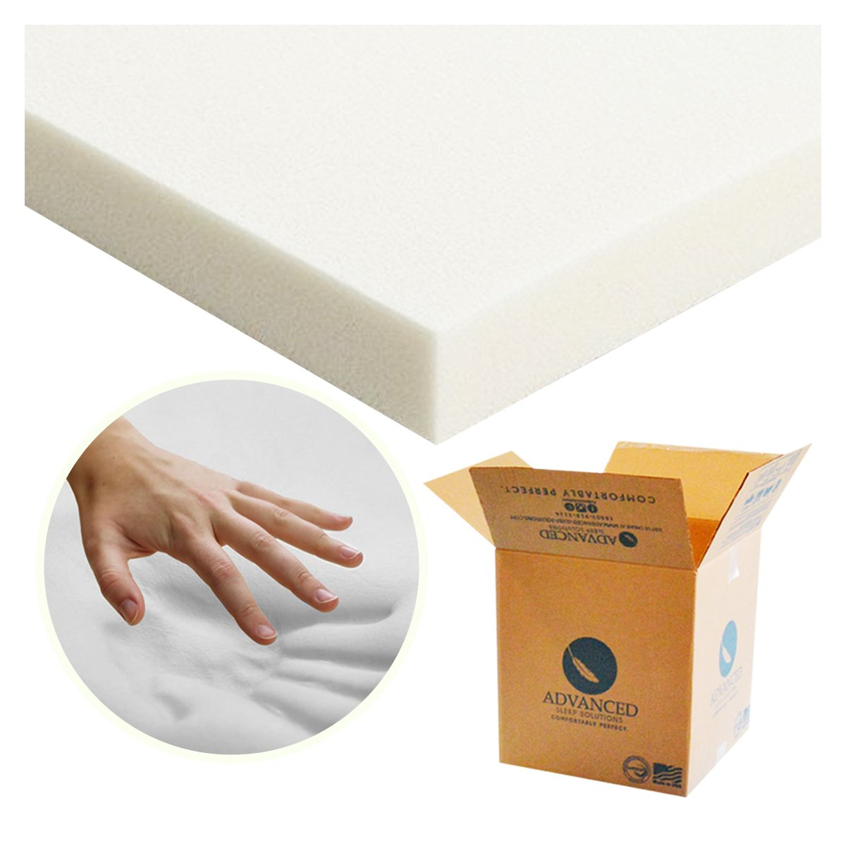 Advanced Sleep Solutions Memory Foam Mattress Topper Queen Size, 2 Inch Thick, Queen Sized Bed Pad, Medium Soft