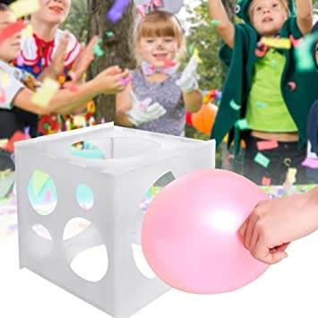 Gejoy 8 Holes Collapsible Plastic Balloon Sizer Cube Box Balloon Measurement Box Tool for Birthday Wedding Party Decorations