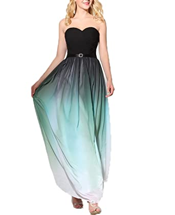 Olivias Flowing Beaded One Shoulder Gradient Prom Dresses 2016 Split Evening Dresses (2, Gradient