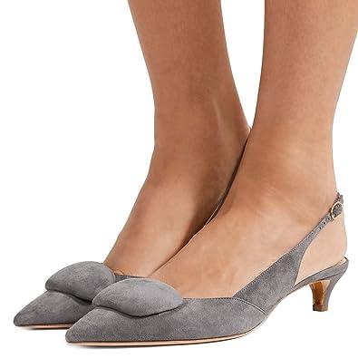 0bffb69d2395 FSJ Women Cute Pointy Toe Slingback Pumps Kitten Low Heels Sandals Comfort  Work Shoes Size 4