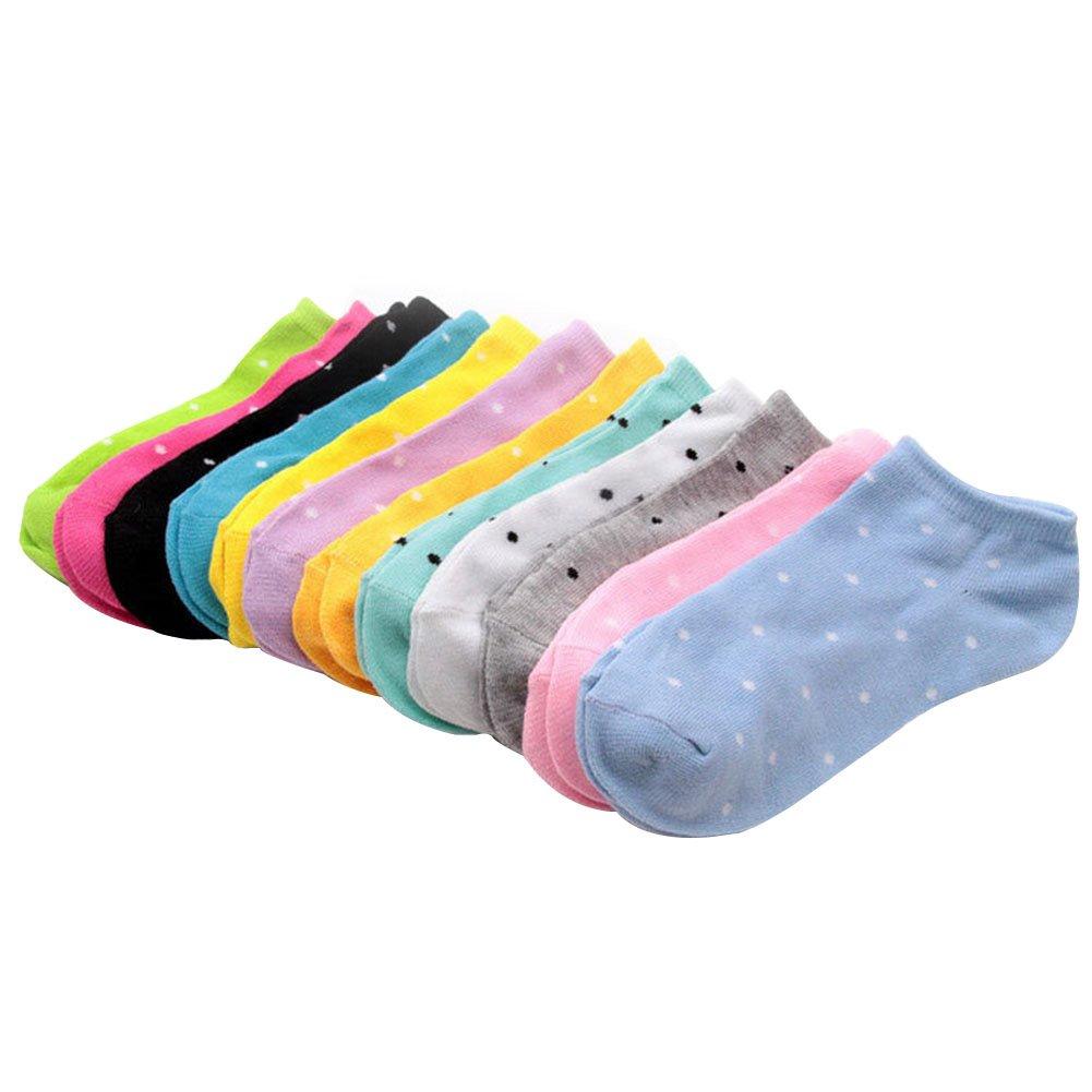 Westeng - Calze sportive Moda da Donna, in cotone, Pattern Point Calzini corti Short (10 paia, colori casuali) 1509185FVE5100