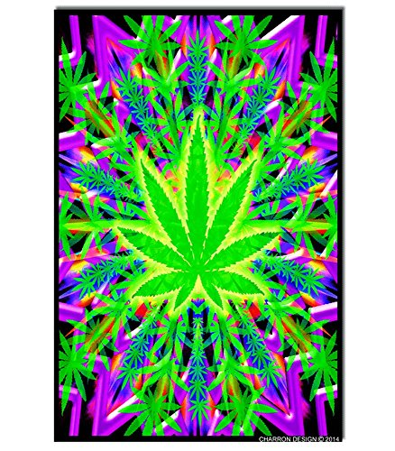 Heady Leaf Blacklight Reactive Poster
