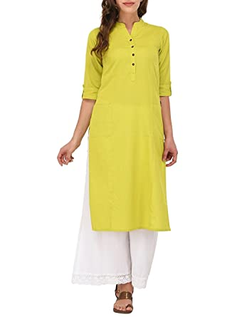 4429719c7fa Ladyline Women's Pure Cotton Plain Tunic Top 3/4 Sleeves Roll-up Button Neck
