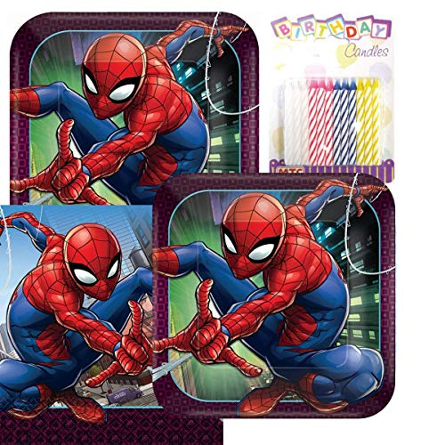 Spider Man Webbed Wonder Party Plates and Napkins Serves 16 With Birthday Candles