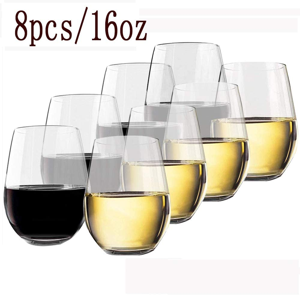 (8 Pack) Auzzlife 16 Oz Unbreakable Stemless Red/White Wine glasses Set of 8,100% Tritan - Shatterproof Plastic & Crystal Clear & Reusable & Dishwasher Safe,Ideal for Indoor and Outdoor Use