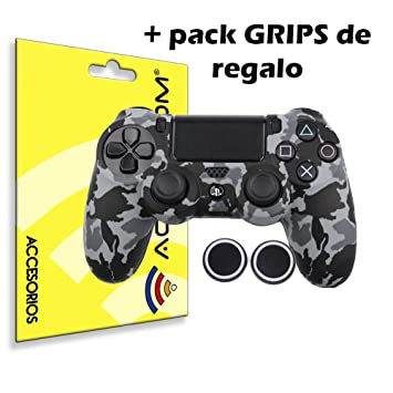 ACTECOM® Funda Carcasa + Grip Silicona Camuflaje Gris Mando Sony PS4 Playstation 4