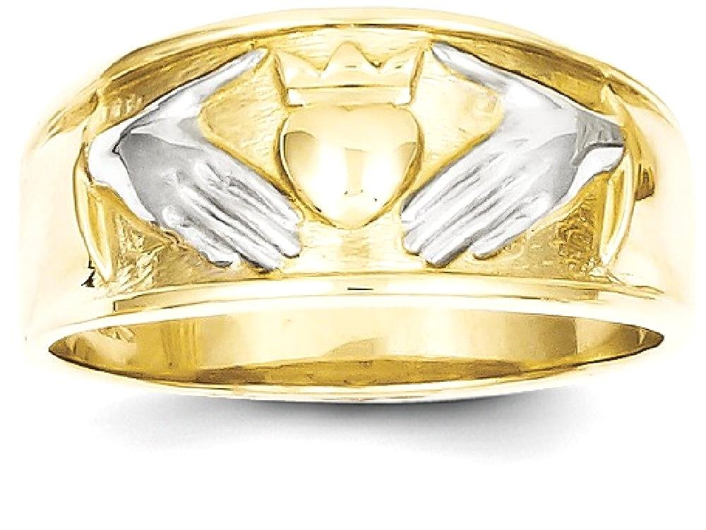 ICE CARATS 10k Yellow Gold Mens Irish Claddagh Celtic Knot Band Ring Size 10.00 Man Fine Jewelry Dad Mens Gift Set