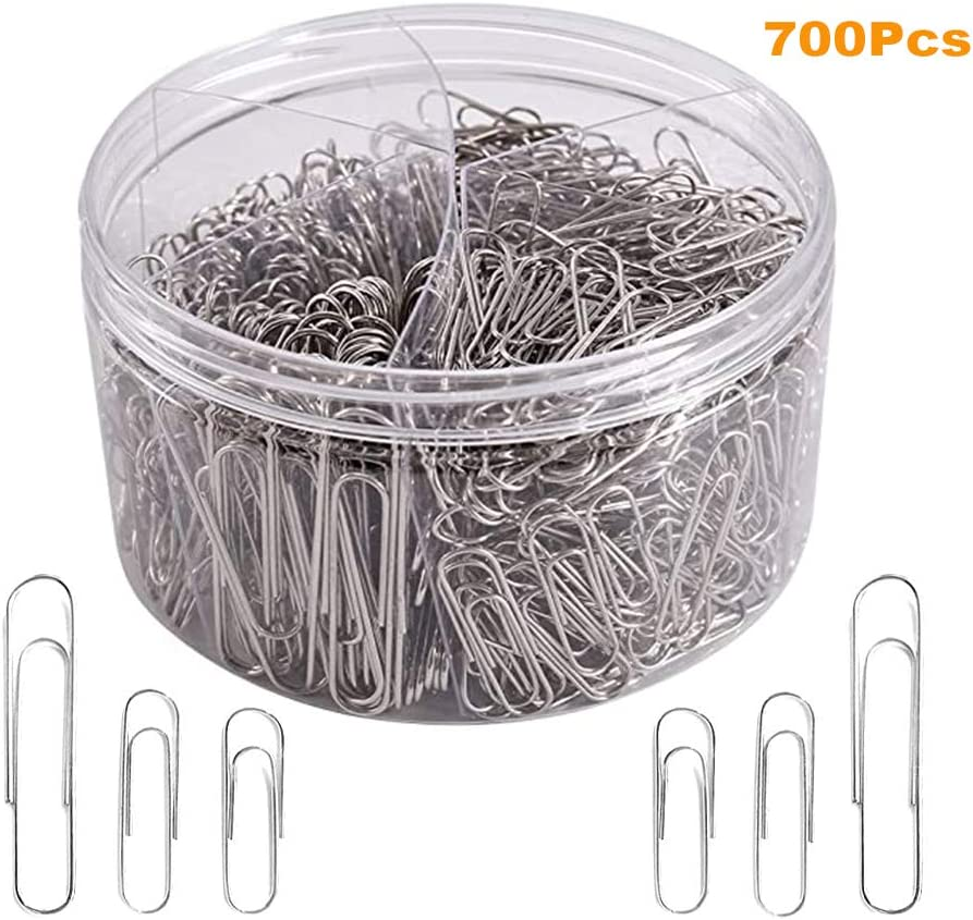 700Pcs Paper Clips Small Medium and Jumbo Size Paperclips for Office School and Personal Use (28cm,33cm,50cm)