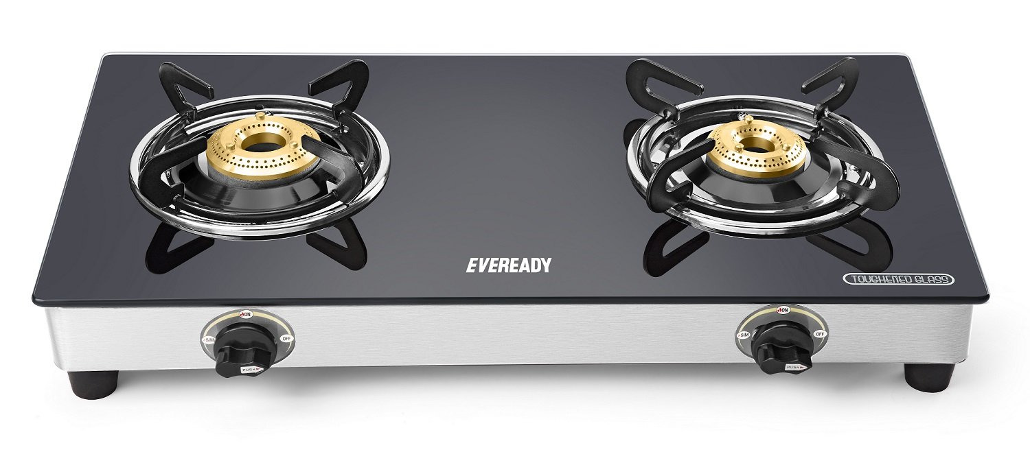 Gas Cooktop Glass Buy Eveready Gs Tgc2b Stainless Steel 2 Burner Glass Top Gas Stove