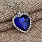 TOOPOOT Clearance Deals,Women Necklace Romantic,Crystal Heart Necklace Classic Luxury Rhinestones (Blue)
