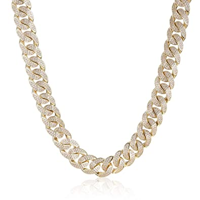 e99a48141f1ef PY Bling 12mm 8.5-30Inches Iced Out Diamond Cut Cuban Link-14K Gold ...