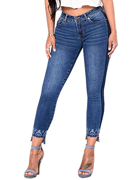 4d1ee8ac73a Cresay Women Sexy Elastic Butt Lift High Waisted Skinny Jeans Denim Pants:  Amazon.ca: Clothing & Accessories