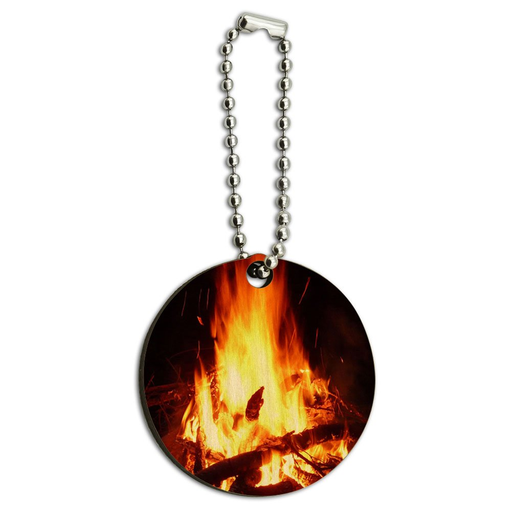 Campfire Camp Camping Fire Pit Logs Flames Wood Wooden Round Key Chain