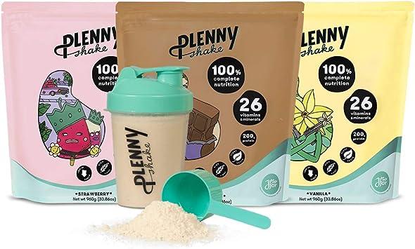 Jimmy Joy Starter Pack, 3 Bolsas x 4.000 kcal,1 Agitador de 600ml, Sustituto de Comida, 20gr Proteína, Vegano, Sin Lactosa, Sin OGM