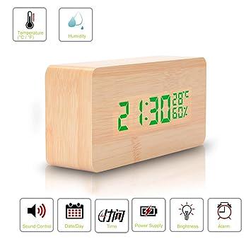 AuBergewohnlich Digitale Wecker In Holzoptik Alarmzeiten Und LED Anzeige,ROGUCI Holz Alarm  Clock Uhren Wood Uhr
