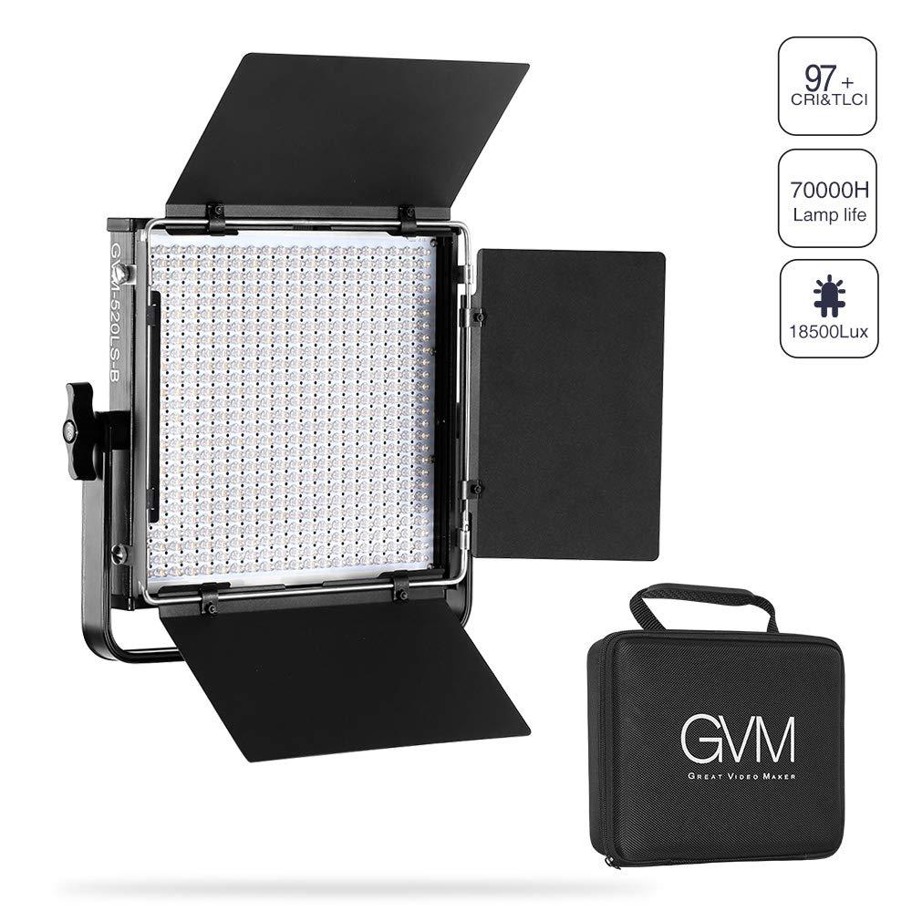 GVM LED Video Light Kit 520LED Lights CRI97 Plus and TLCI 97 Plus 18500 lux @ Bi-Color 3200-5600K for Photography Video Lighting Studio Interview Portrait Green