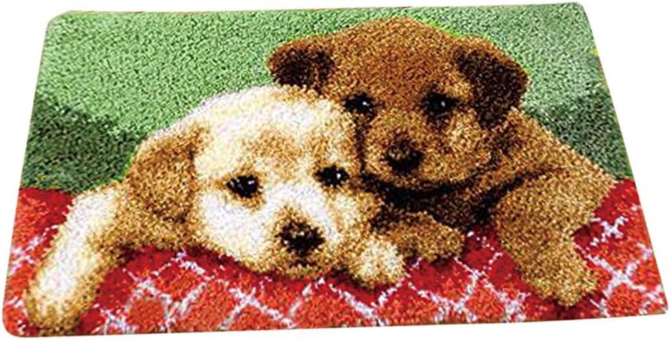 50x30cm Hund Tier Muster perfk Kn/üpfteppich DIY Handwerk Kn/üpfpackung zum Selber Kn/üpfen Teppich f/ür Kinder Erwachsene
