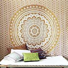 NANDNANDINI- Indian Mandala QUEEN Tapestry GOLD/Brown star love multi uses Beach Throw Tapestry Hippy Boho Gypsy Cotton Tablecloth Beach Towel , BEACH SHEET , wallhanging , Tapestry Yoga Mat