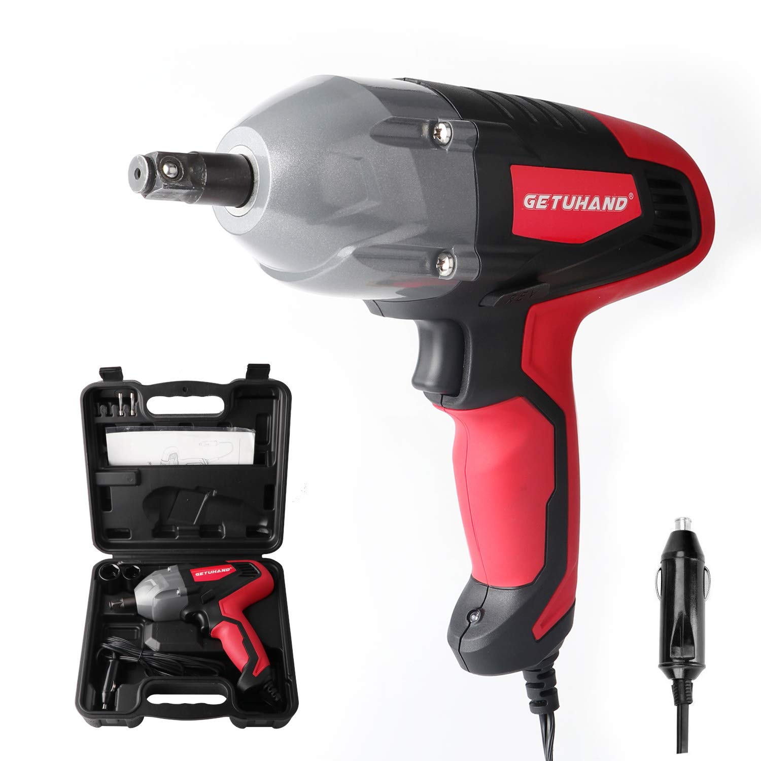 GETUHAND Electric Impact Wrench 1 2 Inch 12 Volt 400N.M 300ft-lbs Max Torque with 1 2 Strong Square Drive, Portable Car Impact Wrench Kit with Sockets and Carry Case