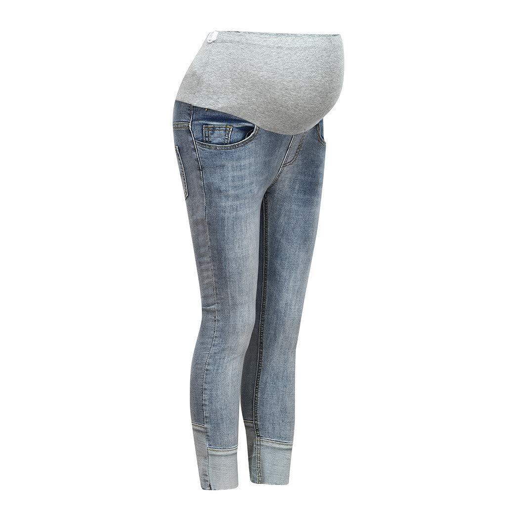 Beyonds Maternity Jeans for Women, Super Soft Stretch Secret Fit Belly Indigo Blue Skinny Jean, Ankle Length Women's Maternity Pants Casual Nursing Leggings Trousers