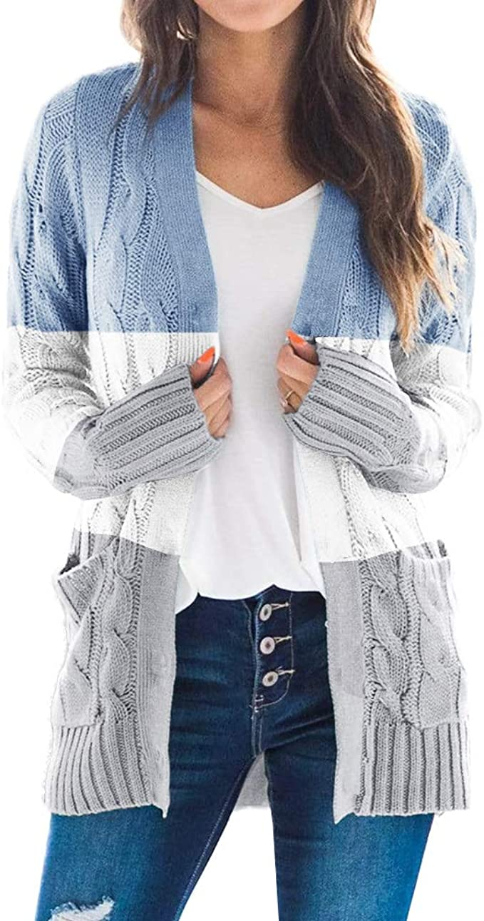 Fekermia Womens Long Sleeve Cable Knit Cardgans Sweaters Plus Size Color Block Open Front Chunky Loose Outwear with Pockets
