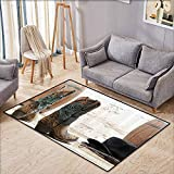 Living Room Area Rug,Western Decor Collection,American Rodeo Cowgirl Design Leather Boots with Fancy and Rustic Picture,Anti-Static, Water-Repellent Rugs,5'3'x7'10',Brown Teal