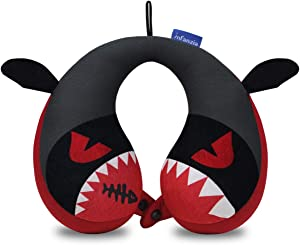 INFANZIA Travel Neck Pillow for Kids Toddlers - Cute Head Neck Chin Support Pillow for Comfortable Sleep on Car & Airplane, Child Size, (Little Devil)
