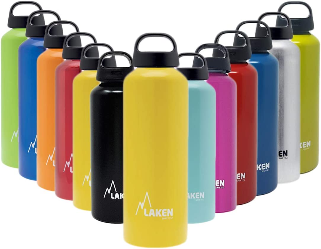 Laken Classic Aluminum Water Bottle, Wide Mouth with Screw Cap and Loop, BPA Free, Made in Spain, 25 Ounce