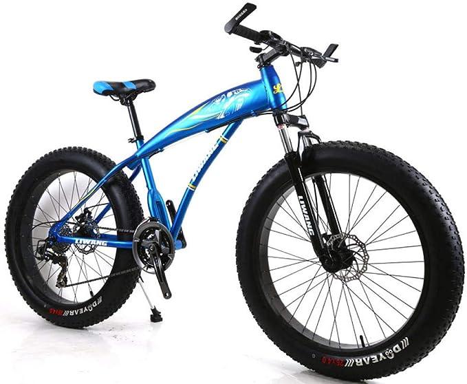 KNFBOK bicis de montaña mujer Bicicleta de montaña de 21 velocidades, 26 pulgadas, llanta ancha, disco de amortiguador, bicicleta para estudiantes Adecuado para nieve, carreteras, playas, etc. - Azul aluminio: Amazon.es: Deportes
