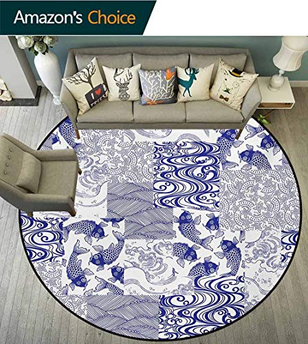 - RUGSMAT Japanese Rug Round Home Decor Area Rugs,Stylized Japanese Patchwork Arts and Craft Pattern Nature Botanic Wildlife Figures Non-Skid Bath Mat Living Room/Bedroom Carpet,Round-71 Inch