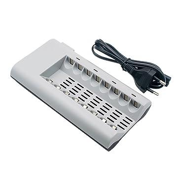 Cargador de Pilas AA/AAA Ni-MH Ni-CD Recargables con Enchufe de Pared [no Incluidas Las Pilas] - Cargador Rápido para Baterías Recargables