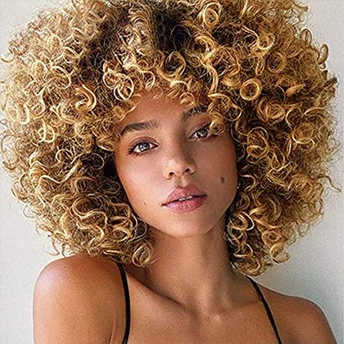 Psalms Hair Short Curly Blonde Wig for Black Women Natural Puffy Afro Wig with Bangs Goodly Kinky Curly Wig Synthetic Heat Resistant Full Wigs(Brown gradient golden yellow)