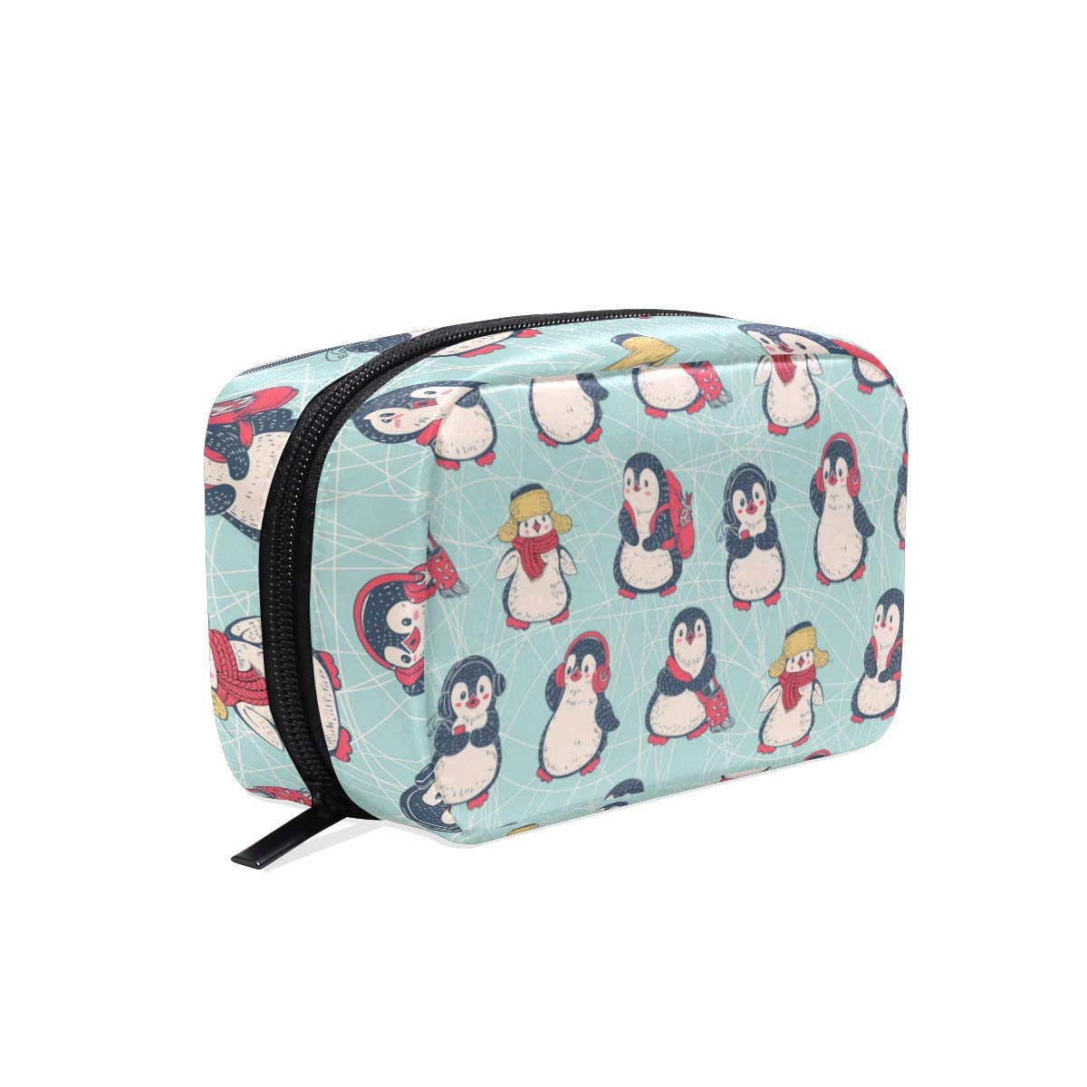 ZZAEO Winter Cute Penguin Makeup Organizer Mini Printing Cosmetics Bag Travel Toiletry Bag Small Beauty Bag Travel Accessories for Teens Girls Women