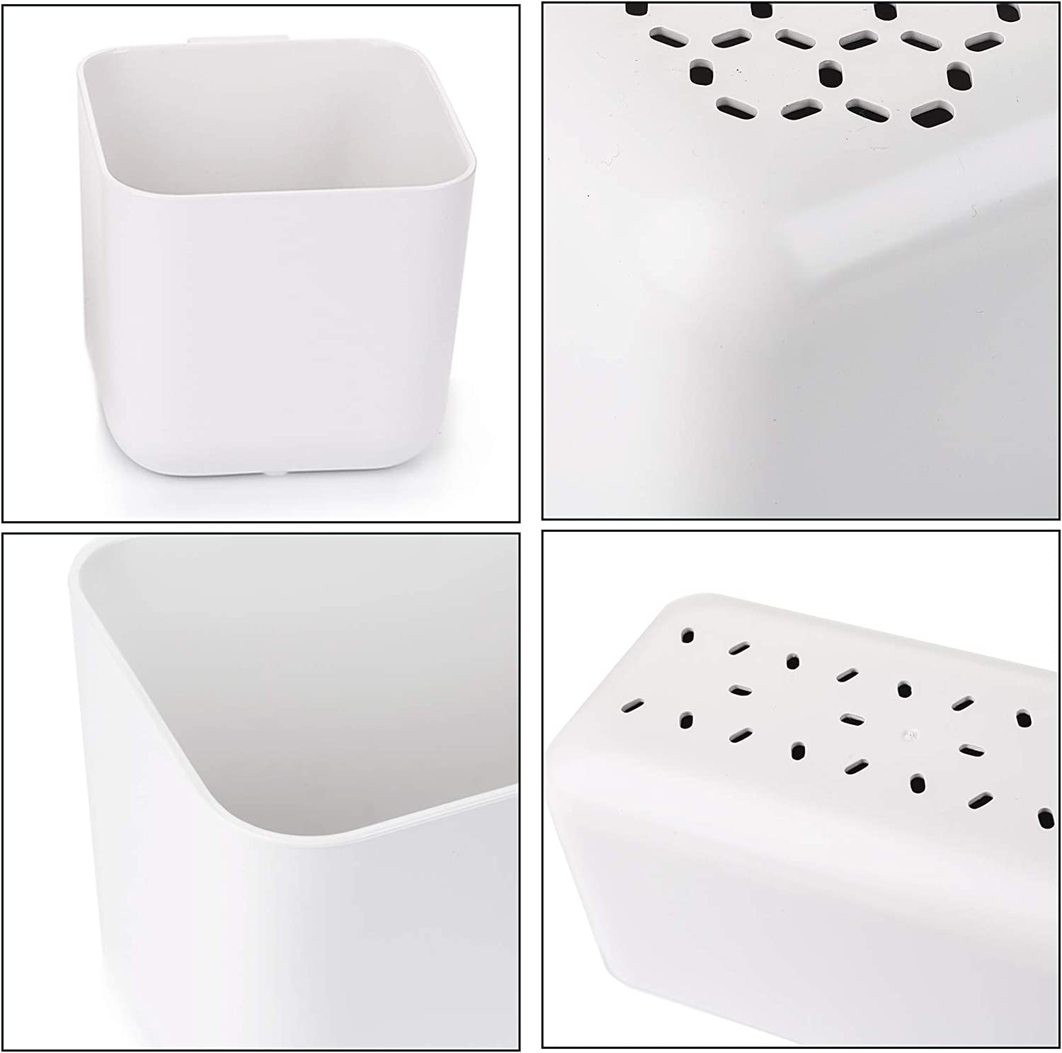 Self-Adhesive Organizer Storage Box for Table and Nightstand White Suwimut 4 Pack Hole-Free Remote Holder Wall Mount