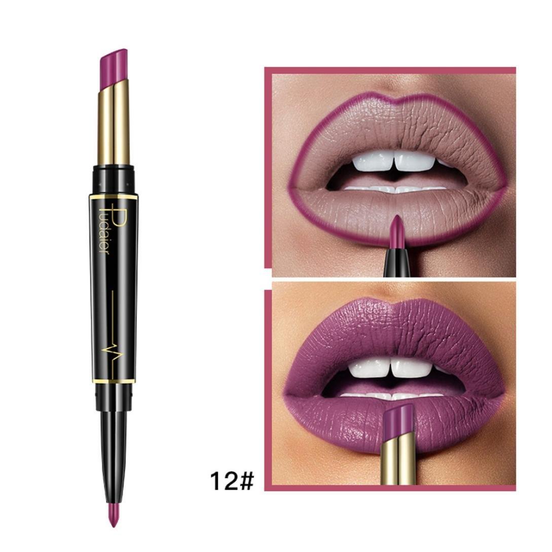XEDUO 16 Color Double-end Lasting Moisturize Lipliner Waterproof Lip Liner Stick Pencil Makeup Lip Gloss for Women Girls (12#)
